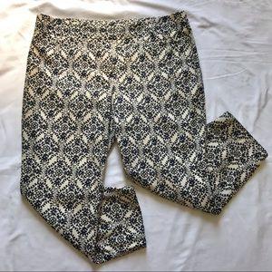 Loft Marissa pants, cream & navy floral print, 12P